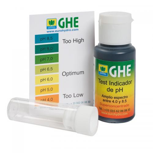 Жидкий pH тест GHE (t°C) pH индикатор совершенен для простого тестирования. Он имеет широкий диапазон, от 4.0 до 8.5. Просто наполовину заполните пробирку питательным раствором, добавьте 2 - 3 капли pH Test индикатора, встряхните и наблюдайте получившийся цвет. Сравните цвет получившегося раствора с нашей таблицей цветов, чтобы проверить уровень pH Вашего раствора.