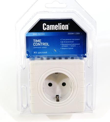 Таймер Camelion BND-50/SG3 Camelion BND-50/SG3 (Таймер цифровой розеточный, 7-дневная программа, 230/3500Вт)