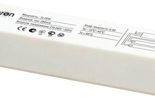 Балласт электронный FERON EB52, 2*36W Электронное устройство, осуществляющее пуск и поддержание рабочего режима люминисцентных  ламп Т8 с цоколем G13, замена классического ПРА стартерно-дроссельной схемы, один балласт запускает  две лампы.