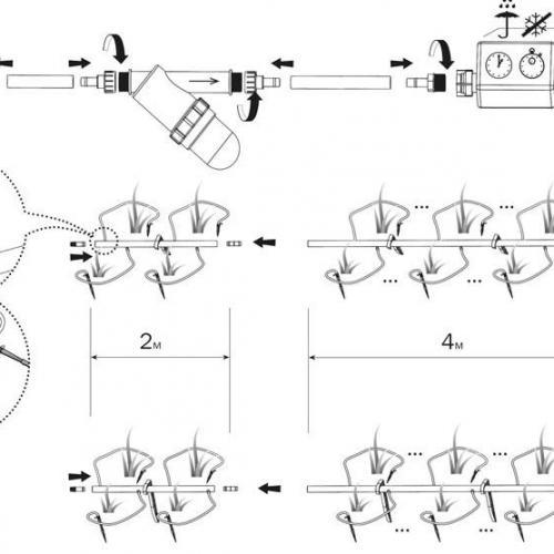 Система капельного полива имеет базовую длину – 4 метра, дополнительная удлиняющая вставка – 2 метра. Шланги с помощью переходника с гайкой крепятся к водопроводу или бочке. Чтобы грязь не попала в шланг, в конструкции предусмотрена система механической очистки воды.