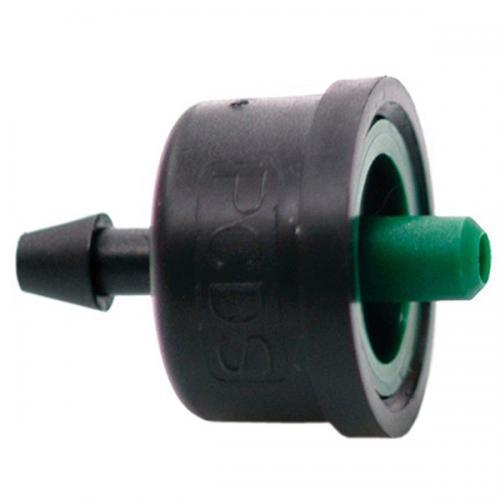 Капельница с компенсацией давления 4 л/ч . /Green/  Irritec-Италия - капельница компенсированная с тыльным отверстием компенсированная - подает строго дозированное количество воды - благодаря съемно крышке легко провести осмотр и очистку - Капельница обеспечивает соответствующий выход воды при рабочем давлении от 1 до 3,5 бар - устанавливается непосредственно на любой трубе, шланге диаметром от 16 мм или на конце микротрубки 4-6 мм - подходит для участков с большим углом наклона