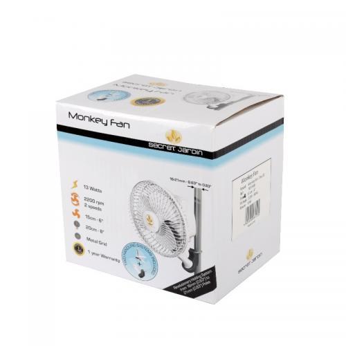 Вентилятор Monkey Fan, 16 W (двухскоростной)  Предназначен для обдува растений. Имеет два вида крепления - клипса и петля. Крепится к каркасным трубкам гроу-тента. Совместим с диаметром каркасных трубок от 16 до 21мм. Не соскальзывает. Легко устанавливается и регулируется.