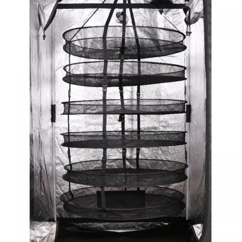Сушилка PRODRY MODULABLE 95*6 Предназначена для сушки плодов. Секция сетчатых ячеек скрепленных между собой вертикально. Конструкция включает в себя 6 сеток-сушилок с высоким бортом, ремни и крючок для подвеса. Материал: сетка из 100 % нейлона, пластиковые соединители из 100% РР пластика, металлические вставки.