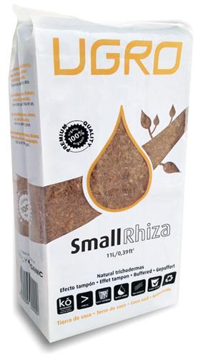 Кокосовый субстрат UGro Small Rhiza UGro Small Rhiza - представляет собой 650-ти граммовый брикет прессованного кокосового «торфа» с низким содержанием кокосовых волокон обогащенный эндомикоризой. Необходимо всего 4 литра воды, чтобы превратить субстрат в 11 литров высококачественного кокосового торфa. Данный субстрат подходит для всех видов однолетних и сезонных культур.
