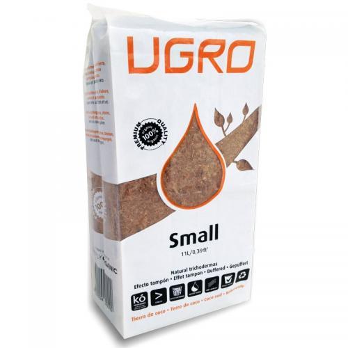 Кокосовый субстрат UGro Small UGro Small — это небольшой блок кокосового субстрата с низким содержанием кокосовых волокон, упакованный в мягкий пластиковый контейнер для выращивания (grow bag). В основании контейнера предусмотрены отверстия, позволяющие корневой системе растения свободно прорастать и развиваться. UGro Small может быть использован самостоятельно или в сочетании с UGro Slab.