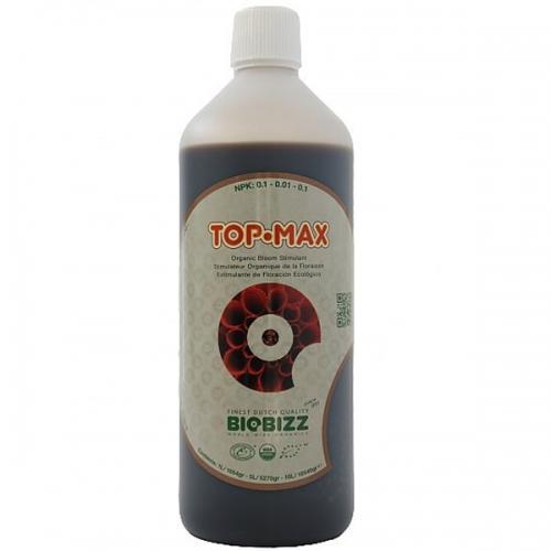 Стимулятор цветения TopMax BioBizz 1 L ТopMax – 100% органический усилитель цветения тройного действия: увеличивает размер и вес цветочных гроздьев, обеспечивает приятный сладкий вкус плодов, способствует поглощению растением питательных веществ. Специально разработан для использования с почвенными смесями Biobizz.