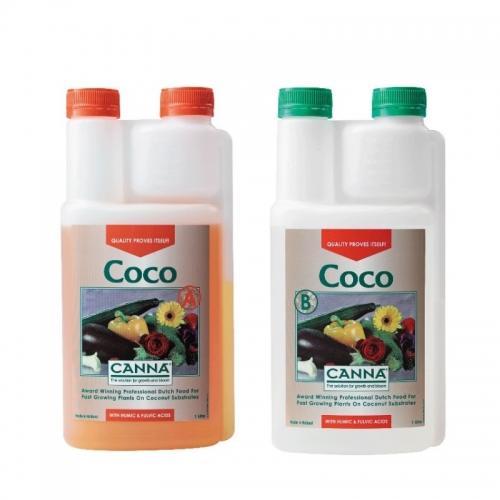 Двухкомпонентное удобрение CANNA Coco A+B, 1 L Полноценное двухкомпонентное удобрение для выращивания на кокосовом субстрате.  Благодаря особым свойствам кокосового субстрата CANNA Coco выпускается в одном варианте (нет разделения Vega и Flores), одна формула для стадии роста и цветения.  Содержит все необходимые элементы для оптимального роста и цветения.