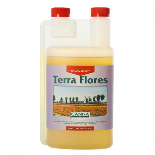 Двухкомпонентное удобрение для стадии цветения CANNA Terra Flores, 1 L Двухкомпонентное удобрение для стадии цветения при выращивании на почве (почвосмесях). CANNA Terra Flores стимулирует плодоношение и усиливает характерный для каждого вида растений аромат. Удобрение разработано для выращивания на различных почвосмесях как в закрытом помещении, так и на открытом воздухе.