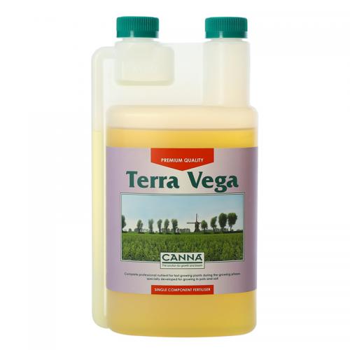 Двухкомпонентное удобрение для стадии вегетации CANNA Terra Vega, 1 L Двухкомпонентное удобрение для стадии вегетации при выращивании на почве (почвосмесях). CANNA Terra Vega обеспечивает растения всеми необходимыми для вегетативной фазы роста элементами в доступной форме. Удобрение разработано для выращивания на различных почвосмесях как в закрытом помещении, так и на открытом воздухе.