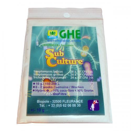 BioMagix - SubCulture GHE 25G (t°C) SubCulture — это смесь благотворных микроорганизмов и бактерий, функция которых защитить корни растения от грибков, плесени и прочих патогенов. Защита корневой системы, особенно на начальном этапе роста, очень важна и играет существенную роль в жизни растения. Также SubCulture активно используется для замачивания и проращивания семян.