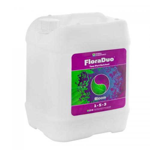 FloraDuo Bloom GHE 10 L (t°C) FloraDuo Bloom – компонент с повышенным содержанием фосфора. Пропорции, приведенные в таблице применения, обеспечивают растение всем необходимым для развития цветовой и корневой массы растения. Подходит для выращивания растений методом гидропоники, почвенного культивирования, культивирования на субстратах. Для достижения лучшего результата используйте FloraDuo Bloom в комбинации с FloraDuo Grow. Высший результат достигается путем добавления в рацион питания улучшающих добавок. Смотрите таблицу применения FloraDuo.