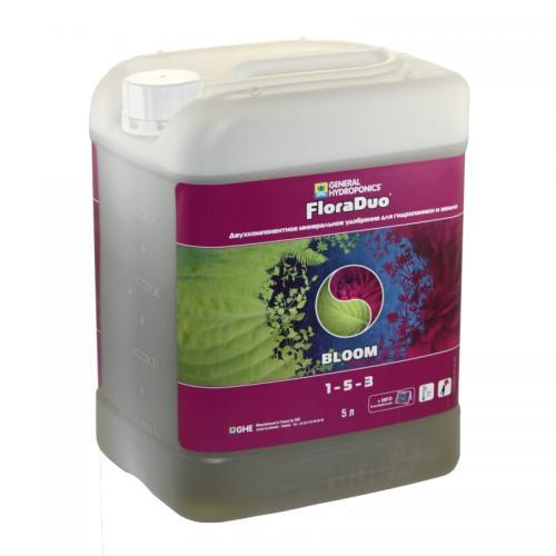 FloraDuo Bloom GHE 5 L (t°C) FloraDuo Bloom – компонент с повышенным содержанием фосфора. Пропорции, приведенные в таблице применения, обеспечивают растение всем необходимым для развития цветовой и корневой массы растения. Подходит для выращивания растений методом гидропоники, почвенного культивирования, культивирования на субстратах. Для достижения лучшего результата используйте FloraDuo Bloom в комбинации с FloraDuo Grow. Высший результат достигается путем добавления в рацион питания улучшающих добавок. Смотрите таблицу применения FloraDuo.