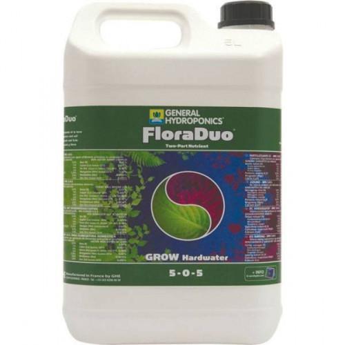 FloraDuo Grow HW GHE 5 L (для жесткой воды), (t°C) FloraDuo — минеральное двухкомпонентное концентрированное удобрение  для быстро растущих растений с явным различием в потребностях при росте и цветении. Содержит биоактивные добавки и стимуляторы FloraDuo Grow HW — компонент с повышенным содержанием азота для «жесткой» воды (солесодержание больше 70 ppm). Пропорции, приведенные в таблице применения, обеспечивают растение всем необходимым для развития стволовой и лиственной массы растения.