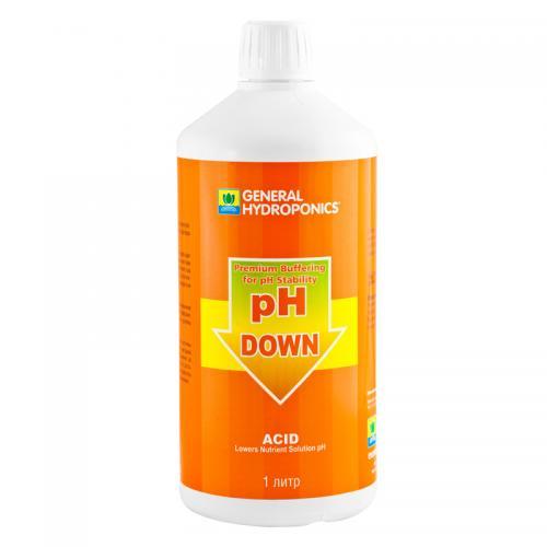 pH Down GHE 1 L  (t°C) Регулятор уровня pH Down от GHE - это последнее слово в области контроля рН фактора. Применяется для коррекции уровня рН воды или питательного раствора на протяжении любой стадии роста растений, а так же для промывки системы и ее частей.