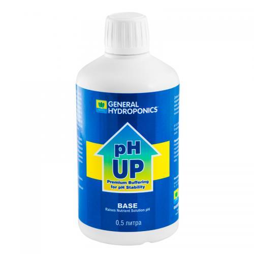 pH Up GHE 0,5 L (t°C) Повышает уровень pH раствора особенно полезно для садоводов, использующих Обратный Осмос, или дестилирированую воду. Эта новая версия содержит силикат, чтобы улучшить окружающую среду Вашего растения.