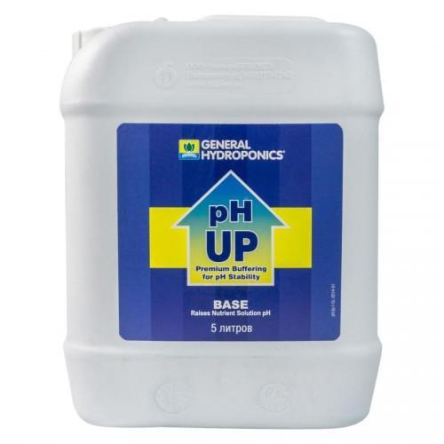 pH Up GHE 5 L  (t°C) Повышает уровень pH раствора особенно полезно для садоводов, использующих Обратный Осмос, или дестилирированую воду. Эта новая версия содержит силикат, чтобы улучшить окружающую среду Вашего растения.
